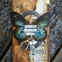 Vintage Butterfly Tag by Karen Knight