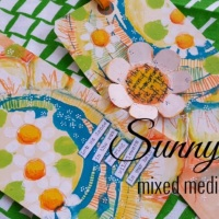 Sunny Days - mixed media art tags