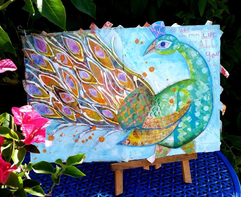 Gelli Peacock Strut Art Journal - In The Garden