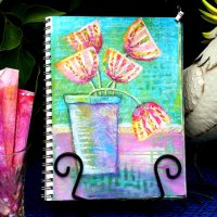 HAPPY GELLI FLOWERS - An Art Journal page featuring collage with gelli prints.