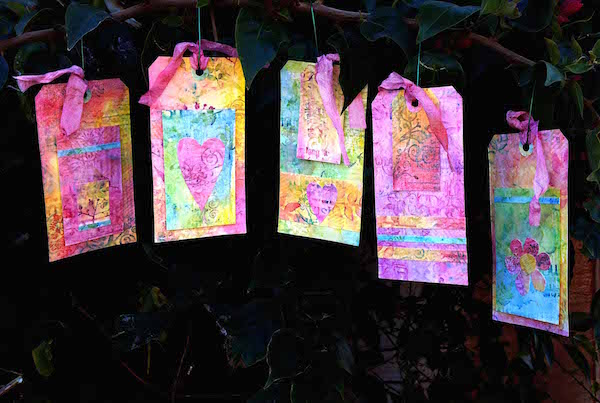 Inktense Demo Garden Hanging tags