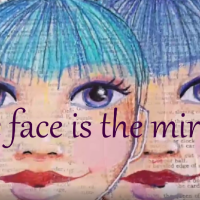 Mirror Faces - Fowler Face Series stencils - mixed media art journal page