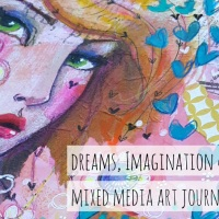 Dreams, Imagination & Adventure - Mixed media art journal page