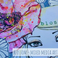 Blossom - Mixed media art journal page