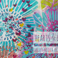 Hearts & Flowers - Mixed Media Art Journal Page