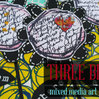 Three Blooms - Mixed Media Art Journal Page